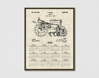 1935 John Deere Tractor Patent Print 2018 Calendar - Farm Kitchen Decor - 12 Month Calendar - Agriculture Calendar - Farm Decor