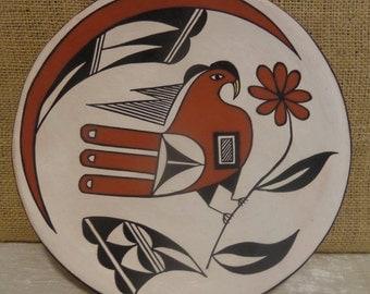 Vintage Acoma Pottery Plate, Pueblo Bird, Signed