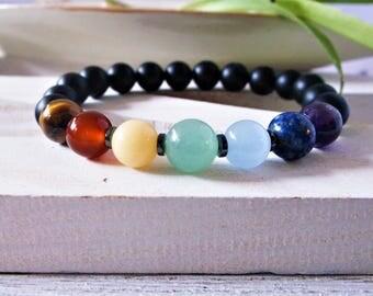 7 Chakra bracelet mala, black onyx. Genuine gemstones. Onyx mala bracelet. Beaded bracelet. Stretch mala. Yoga jewelry. Chakra stones.