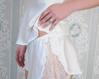 Luxury beautiful bridal lingerie handmade in England. Chantilly lace and silk soft french knickers
