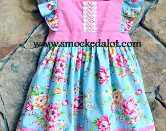 Girls Dress- precious Aqua/Pink Floral Rose Fabric with Lace by Smocked A Lot Birthday Vintage