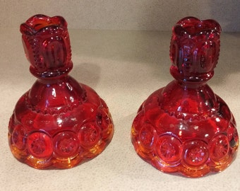 LE Smith Moon and Stars Amberina Candlestick Holders