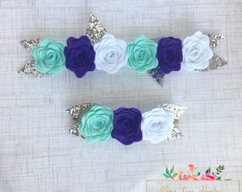 Felt Flower Crown | Teal, Purple and White