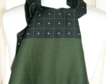 1960's Green Patterned Silk and Wool Scalf