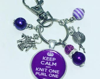 Knitting keyring, knitting keychain, knitting gift, knit one purl one, gift for knitter