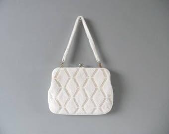 Vintage Beaded purse Vintage purse Vintage white purse wedding vintage beaded bag vintage handbag Art deco purse vintage chevron bag clutch