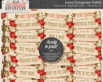 Printable Coupons, Love Coupons, For Her, For Him, DIY Valentines Gift, Instant Download, Printable Tickets, Digital Collage Sheet, Angels