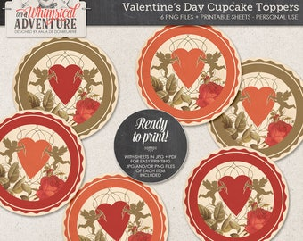 Valentines, Cupcake Toppers, Printable Collage Sheet, Instant Download, DIY Valentines Day Decor, Vintage Style, Hearts, Angels, Red Roses