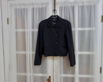 90s Short Black Peacoat