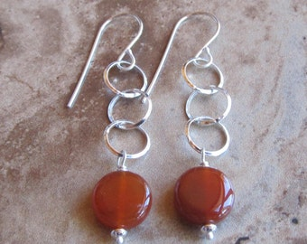 sterling silver link with carnelian