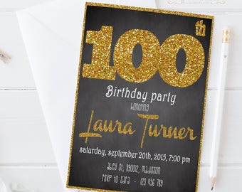 100th Birthday Invitation / Glitter / Printable