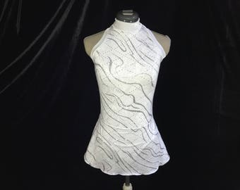 White and Silver Ice Figure Skating Competition Dress Girls SMALL, MEDIUM, LARGE and Adult Sm 4 - 6