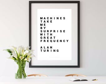 ALAN TURING, turing test, turing machine, computer programmer, computer science,  software engineer, geek printable art, 4x6, printable art
