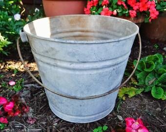 Metal Bucket/Pail/Rustic Bucket/Farmhouse Garden Planter/Farm Bucket/Farmhouse Storage/Galvanized Steel/J&L Ware/Vintage
