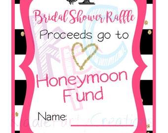 Bridal Shower Honeymoon Fund Raffle Ticket 12 Per Page Kate Spade Inspired {INSTANT DOWNLOAD}