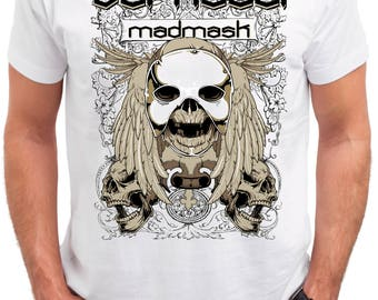 Dark Soul Skull. Men's white cotton t-shirt