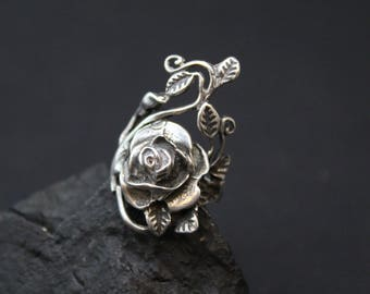 Sterling Silver Rose Ring, Sterling Vine Ring, Large Silver Rose Ring, Sterling Silver Flower Ring, Sterling Silver Rose Jewelry
