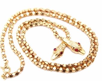 18k Yellow Gold Serpent Necklace, Yellow Gold Snake Necklace with Gemstone Eyes, Gold Snake Jewelry, Estate Snake Necklace, 18k Gold Estate