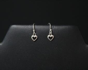 Sterling Silver Minimalist Open Heart Dangle Earrings, Sterling Heart Earrings, Small Heart Dangle Earrings, Tiny Sterling Heart Earrings