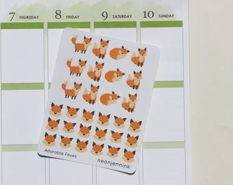 Adorable Fox Stickers   Set of 30 Stickers