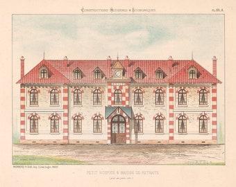 Petit Hospice & Maison de Retraite, Antique French Architecture Lithograph, C1870