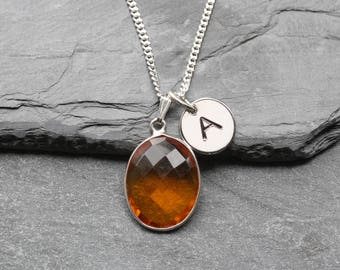 Citrine Necklace Sterling Silver - Personalized November Birthstone Necklace - Initial Pendant -  November Birthstone Jewellery Jewelry  B40