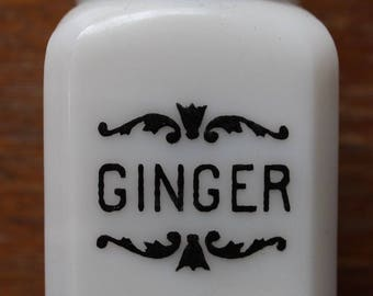Vintage Milk Glass Ginger Spice Jar and Lid White w/ Black Letters Filigree