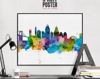 Cincinnati poster, Cincinnati art print, Cincinnati skyline watercolour print, Cincinnati wall art, travel poster, home decor, iPrintPoster