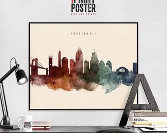 Cincinnati art print, Cincinnati poster, Cincinnati wall art, Cincinnati skyline watercolour print, travel poster, home decor, iPrintPoster