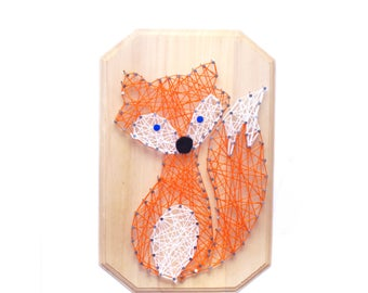 Fox DIY design, FOX String art, kid's craft, string art kit, nursery decor, birthday gift, craft activity, DIY fox