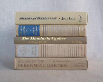 Decorative Book Set, Vintage Book Bundle in Beige, Farmhouse Books, Home Staging, Wedding Centerpiece, Shabby Books