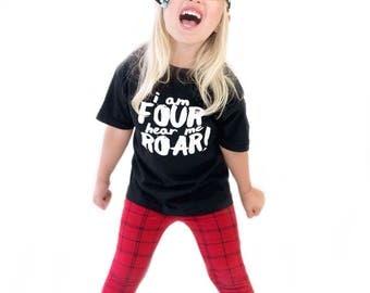 Fourth Birthday Shirt - I'm Four, Hear Me Roar - Birthday Shirt - 4th Birthday - 4 Year Old Shirt - Four Year Old Shirt