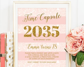 Time Capsule Pink And Gold Birthday Party Sign Time Capsule 1st Birthday Girl Printable Sign Girl Birthday Time Capsule Cards Gold Glitter