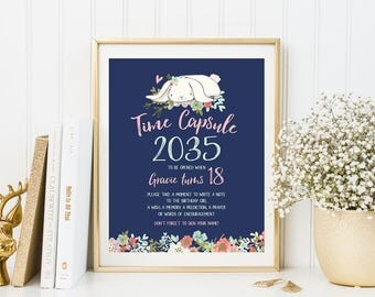 Some Bunny Time Capsule Sign Floral Pink And Navy Birthday Party Decor Baby Girl First Birthday Baby Shower Decor PRINTABLE