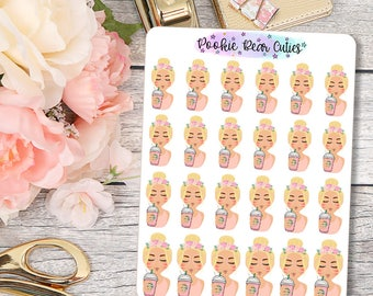 Babe- Floral Frappe Stickers