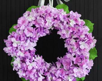 Purple Spring Hydrangea Front Door Wreath