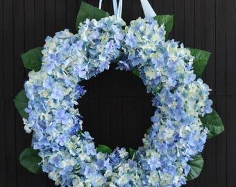"""Blue Hydrangea Front Door Wreath - 22"""" Diameter"""