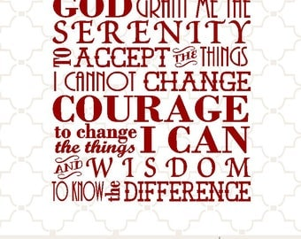 SVG Serenity Prayer / serenity prayer sign / Cricut serenity prayer / Courage / Wisdom / Serenity Prayer print / Serenity png eps