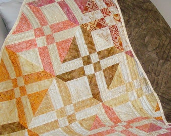 Throw Quilt / Patchwork Quilt / Lap Quilt / Batik Quilt / Custom quilt / Ivory Quilt / Cream Quilt / Traditional Quilt / Quilt for Sale /