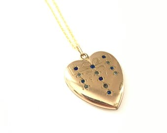 Gorgeous Antique WH & Co. Heart Locket with Paste Rhinestones