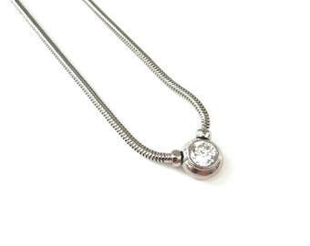 Vintage Silver Plated Cubic Zirconia CZ Snake Chain Necklace