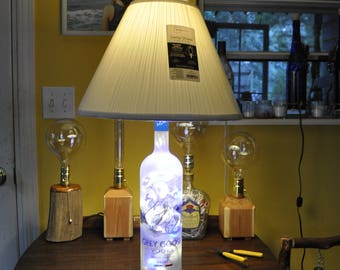 Grey Goose Vodka Table Lamp with Medium Lamp Base and 50 Clear and Blue LED Lights