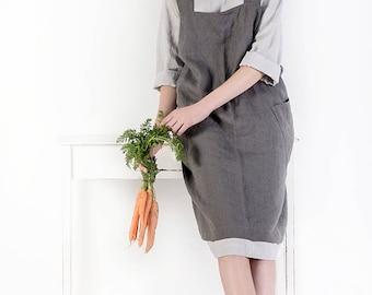 Linen Pinafore apron,  Square Cross Linen Apron, Japanese Apron, Washed long apron, Crossed back apron, Full apron, Linen Tunic