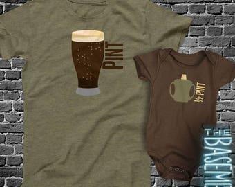 Matching Dad and baby kiddo shirt set - pint / half pint shirt set father's day DARK gift set - dad baby matching MDF1-009v