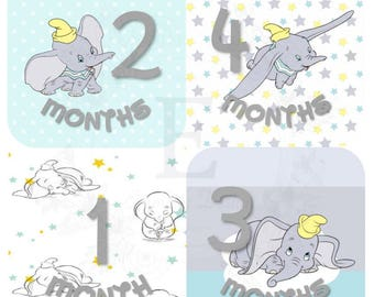 Dumbo Month Stickers, Baby boy Monthly stickers, Baby month stickers, Months 1-12 stickers, Dumbo Nursery