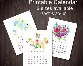 Printable 2018 Wall Calendar, Instant Download 2018 Desk Calendar, Printable Watercolor Flower Calendar, Flower Office Calendar 2018, 0511