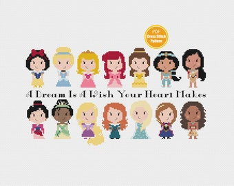 Disney Princess Cross Stitch Pattern - PDF Instant download - Disney Princesses - Moana - Belle - Ariel - Frozen - Disney Crosstitch Pattern