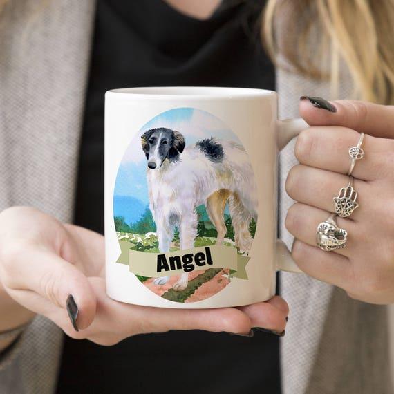 Borzoi Custom Dog Mug - Get your dogs name on a mug - Dog Breed Mug - Great gift for dog owner - Borzoi mug
