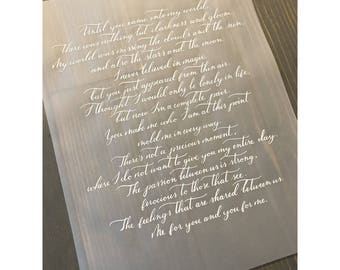 Custom Calligraphy Love Letter_Vows on Clear Vellum_Center Aligned