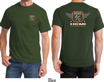 Men's Dodge Garage Hemi Front & Back Print Tee T-Shirt 20415E4-FB-PC61